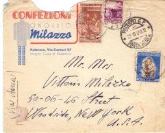 1950 Aereogramma Da Palermo Per USA Con Tabacchi Da L. 55.  - Franc - 6. 1946-.. Repubblica