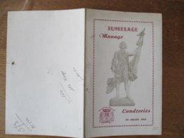 JUMELAGE MANAGE LANDRECIES 29 JUILLET 1962 BONNAIRE ANDRE MAIRE DE LANDRECIES FRANCQ WILLY BOURGMESTRE DE MANAGE - Documents Historiques
