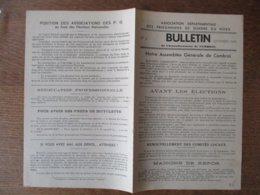 ASSOCIATION DEPARTEMENTALE DES PRISONNIERS DE GUERRE DU NORD BULLETIN SEPTEMBRE 1945 ARRONDISSEMENT DE CAMBRAI - Historische Dokumente