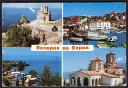 Macedonia Ohrid 1984 / Monastery, Panorama, Camp / Pozdrav, Greetings - Macedonië