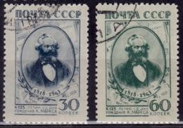 Russia, 1943, Karl Marx 125th Anniversary, Sc#903-904, Used - 1923-1991 URSS