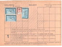 MARMANDE Lot Et Gar Assurances Sociales Fiscaux Socio-postaux Type 1935 Merson 24F Bleu 1F Rouge Yv 38 48 - Revenue Stamps