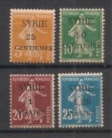 Syrie - 1924 - N°Yv. 106 - 107 - 109 - 110 - Semeuse 4 Valeurs - Neuf Luxe ** / MNH / Postfrisch - Ungebraucht