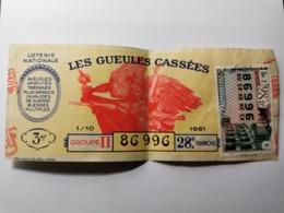 France, Les Gueules Cassées 1961 - Biglietti Della Lotteria