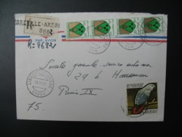 Gabon  Libreville-Akebe   Lettre Recommandée N°  8682 - 1971  Pour Sté Générale  En France Bd Haussmann Paris - Gabon (1960-...)