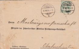 1904  Von Schweizerische Mobiliar Vers. Balsthal Nach Mostereigenossenschaft Oberbuchsiten. Zu: 65B / Mi. 53y - 1882-1906 Armoiries, Helvetia Debout & UPU