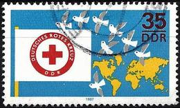 German Democratic Republic 1987 - Mi 3088 - YT 2709 ( Red-Cross - Flag & Doves ) - Used Stamps