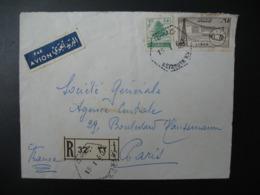 Liban  Beyrouth   Lettre Recommandée N°  32 - 1960   Pour La Sté Générale En France  Bd Haussmann Paris - Liban