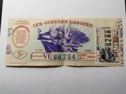 France, Les Gueules Cassées 1961 - Billetes De Lotería