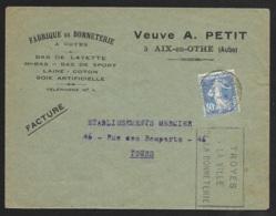 Aube-Enveloppe Fabrique De Bonneterie Avec Oblitération Troyes Gare - Marcophilie (Lettres)