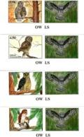 Tajikistan  2019 . Owls. Imperf .4v:3.50,4.50,5.80,6.00 + Label - Tajikistan