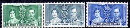 Turks & Caicos Islands GVI 1937 Coronation Set Of 3, MNH (A) - Turks And Caicos