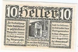 Austria (NOTGELD) 10 Heller Sankt Veit 1-8-1920 Kon 945 A.1  UNC Ref 3657-1 - Austria