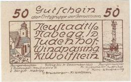 Austria (NOTGELD) 50 Heller Neustadtl  Kon-fs 665 E.3 Escritura Marrón UNC Ref 3609-1 - Austria