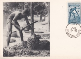 PS / Pub Labo LA BIOMARINE . Cpsm 10x15 . Série A.O.F (XIII) DAHOMEY . Egreneur De Palmiste  + Timbre - Dahomey