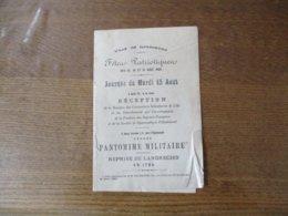 LANDRECIES FÊTES PATRIOTIQUES DES 13,14 ET 15 AOUT 1899 JOURNEE DU MARDI 15 AOUT - Programmes
