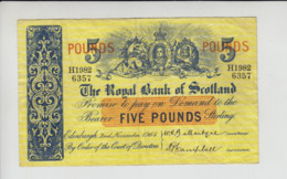 AB304. The Royal Bank Of Scotland Plc £5 Banknote 2nd November 1964 #H1982/6357 FREE UK P+P NEW LOW PRICE LIMITED TIME! - [ 3] Scotland