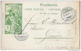 88 - 51 - Entier Postal UPU Avec Cachet à Date De Zürich Et Genève 1900 - Attention Petite Déchirure - Postwaardestukken