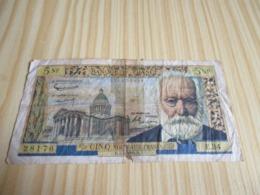 France.Billet 5 Nouveaux Francs Victor Hugo 1960; - 1959-1966 ''Nouveaux Francs''