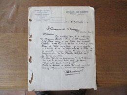 MENIN OSCAR DE KIMPE SPECIALITE POUR L'EXPORTATION GRAINES DE LIN A SEMER, HUILERIE & MEUNERIE COURRIER  6 NOVEMBRE 1922 - Belgique