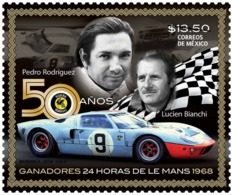 2018 MÉXICO  50 Años Ganadores 24 Horas De Le Mans, PEDRO RODRÍGUEZ Y LUCIEN BIANCHI, STAMP MNH 50 Anniv.  CAR RACES - Mexico