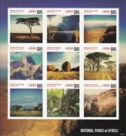 2014 Liberia National Parks Of Africa Tanzania Kenya Zimbabwe Miniature Sheet Of 9  MNH - Liberia