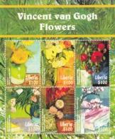 2015 Liberia Art Paintings Van Gogh Flowers Miniature Sheet Of 6 MNH - Liberia