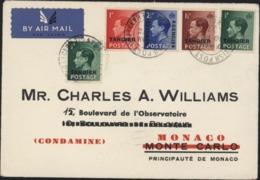 Bureau Anglais Au Maroc YT 27 + 15 X2 + 16 + 17 Tangier CAD British Post Office Tangier 10 Fev 37 Pour Monaco - Postämter In Marokko/Tanger (...-1958)