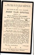 Jozef Van Opstal Evhtg Van Noort Maria Catherina °1888 Herselt +1935 Leuven Wolfsdonk Lid Bond H.Hart (Langdorp) - Esquela