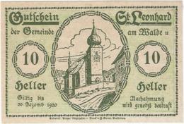 Austria (NOTGELD) 10 Heller Sankt Leonhard 30-12-1920 Kon-fs 902 C.1 Reverso Verde UNC Ref 3646-1 - Sin Clasificación