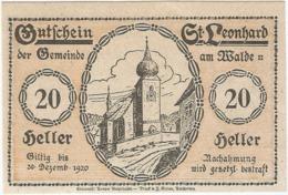Austria (NOTGELD) 20 Heller Sankt Leonhard 30-12-1920 Kon-fs 902 C.2 Reverso Negro UNC Ref 3644-1 - Sin Clasificación