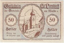 Austria (NOTGELD) 50 Heller Sankt Leonhard 30-12-1920 Kon-fs 902 C.3 Reverso Marrón UNC Ref 3645-1 - Austria
