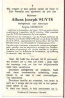 Wuyts Alfons Joseph Echtg Verbeeck Regina °1913 Langdorp +1966 Wolfsdonk Drukkerij Herselt - Esquela