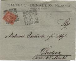 Cent. 20 Su Busta Fratelli Benallio Meccanici Con Annullo Tondoriquadrato Castello Sopra Lecco (Como) 09.12.1892 - 1878-00 Umberto I