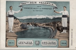 1914 , FRANCIA - GRENOBLE , TARJETA POSTAL SIN CIRCULAR , XXIII FÉTE FÉDÉRALE DE LA FED. DE GYMNASTIQUE DU SUD - EST - Gimnasia