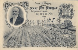1904 , FRANCIA - VILLE D'ARRAS, TARJETA POSTAL SIN CIRCULAR , XXX FÉTE FÉDÉRALE DE GYMNASTIQUE - Gimnasia