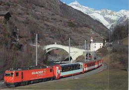 HGe 4/4 II N°4 Glacier Express Neubrück, Svizzera Treni MGB Train Ponte Chiesa - Stazioni Senza Treni