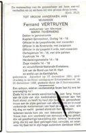 Vertruyen Fernand Wed Maria Taverniers °1891 Aarschot +1968 Scherpenheuvel Dokter Oorlog 14-18 Vuurkruis Oorlogskruis - Overlijden