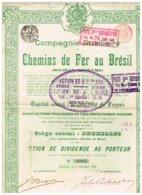 Titre Ancien - Compagnie Auxiliaire De Chemins De Fer Au Brésil - Titre De 1909 N° 20865 - Chemin De Fer & Tramway