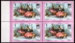 TUVALU 1981 Squirrelfish Fish 1c MARG.4-BLOCK OVPT:OFFICIAL Fine Typography - Tuvalu (fr. Elliceinseln)