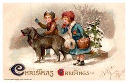 Dog Pulling Christmas Tree, Christmas Greetings ,John Winsch - Dogs