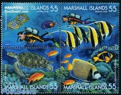 Marshall Islands 1995 Marine Life 4v [+], (Mint NH), Nature - Fish - Turtles - Sport - Diving - Tauchen