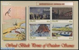 Palau 2002 Japanese Art 4v M/s, (Mint NH), Art - Bridges And Tunnels - Paintings - East Asian Art - Var.. - Palau