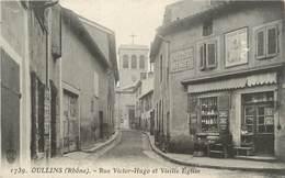 ".CPA FRANCE 69 "" Oullins, Rue Victor Hugo Et Vieille église"" - Oullins"