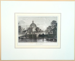 Houtgravure/ Holzstich/ Wood Engraving 'Amsterdam Singelkanaal & Lutherse Kerk', 1853 - Prenten & Gravure