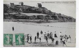 (RECTO / VERSO) PERROS GUIREC EN 1919 - N° 6456 - LA PLAGE DE TRESTRAOU AVEC PERSONNAGES - CPA VOYAGEE - Perros-Guirec