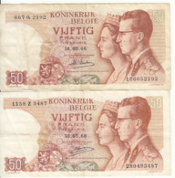 Belgique - Lot 2 Billet 50 Francs Frank (Baudouin Fabiola 1966) (1) - [ 2] 1831-... : Reino De Bélgica