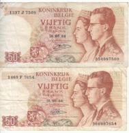 Belgique - Lot 2 Billet 50 Francs Frank (Baudouin Fabiola 1966) (2) - [ 2] 1831-... : Royaume De Belgique