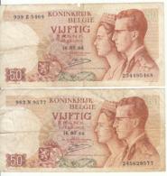 Belgique - Lot 2 Billet 50 Francs Frank (Baudouin Fabiola 1966) (3) - [ 2] 1831-... : Royaume De Belgique