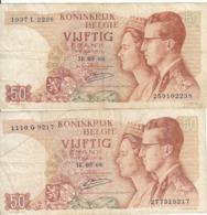 Belgique - Lot 2 Billet 50 Francs Frank (Baudouin Fabiola 1966) (4) - [ 2] 1831-... : Royaume De Belgique